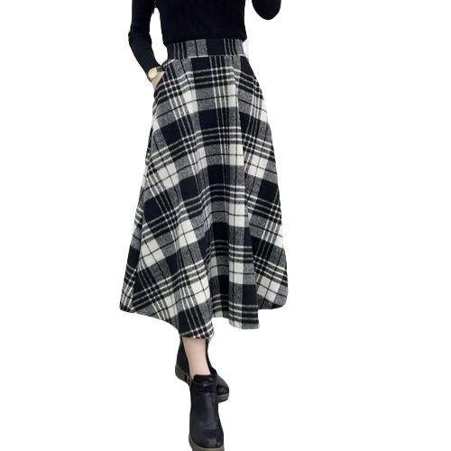 Saia de xadrez Mulheres de inverno Cintura elástica alta de lã Elegante A-Line Quadra de seda quente vintage