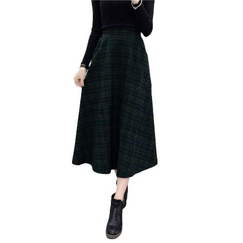 Invierno mujeres Plaid falda de lana de alta cintura elástica Elegante A-Line vintage cálido medias faldas