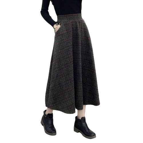 Winter Women Plaid Skirt Woolen High Elastic Waist Elegant A-Line Vintage Warm Midi Skirts