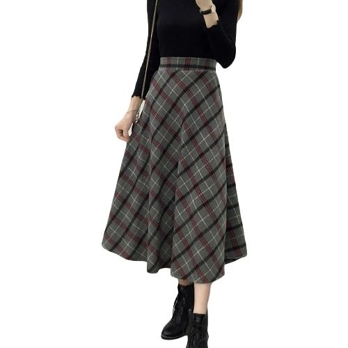 Falda a cuadros de mujer de invierno de cintura alta elástica de lana Elegante falda a media línea de calcetines de lana de época
