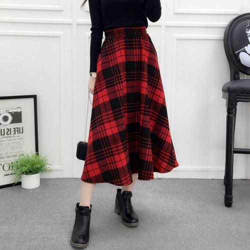 Зимняя женская клетчатая юбка с шерстяной высокой эластичной талией Элегантная линия A-Line Vintage Warm Midi