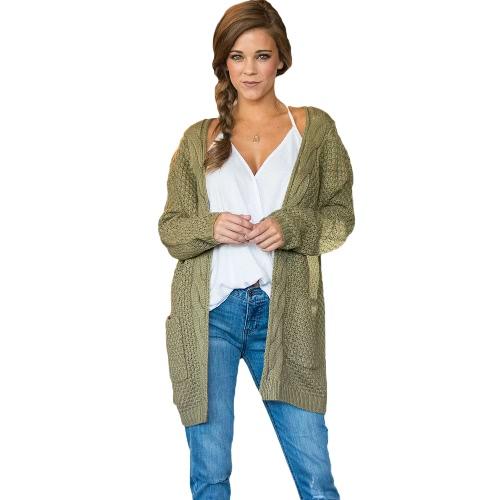Las nuevas mujeres de la manera hacen punto la capa gruesa de la torsión del suéter de los géneros de punto del bolsillo de la manga larga flojamente Causal hizo punto la rebeca