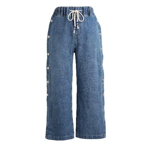 Mujeres Pantalones Vaqueros pantalones de pierna ancha Snap Split lado cordón de cintura suelta Casual pantalones azul