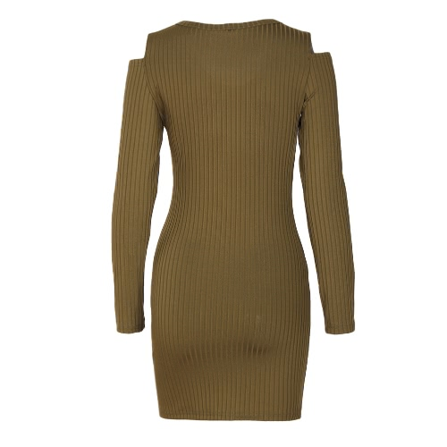Women Cutout Shoulder V Neck Slim Sheath Dress Solid Long Sleeve Casual Party Mini Dress