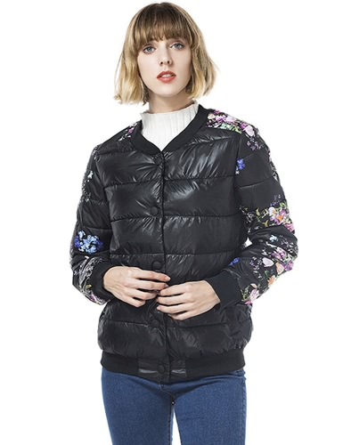 Winter Women Jacket Coat Floral Print Quilted Long Sleeve Cotton Padded Slim Thick Parka Outerwear Black