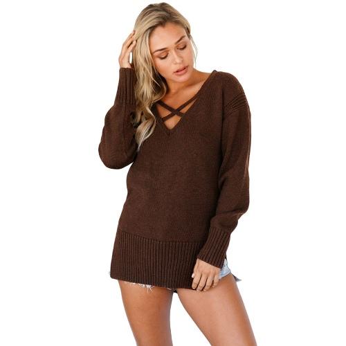Las mujeres atractivas de punto de jersey Suéter de cuello profundo de cuello V cruz manga larga Split alta-baja Hem caliente jersey jersey de punto