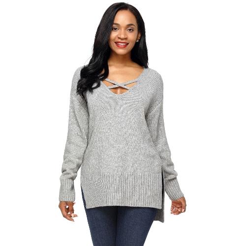 Deep V Neck Side Split High Low Sweater