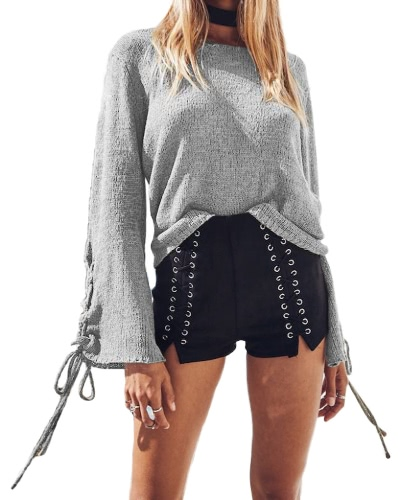 Mujeres Bell Sleeves Sweater pullover de punto a encaje hasta Ojetes O Neck Loose Casual Knit Top
