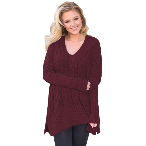 Women Autumn Winter Sweater V-Neck Loose Twist Knitted Sweater Split Jumper Tops Solid Knitwear