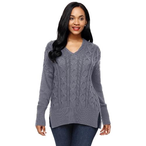 Women Autumn Winter Sweater V-Neck Loose Twist Knitted Sweater Split Jumper Tops Solid Knitwear