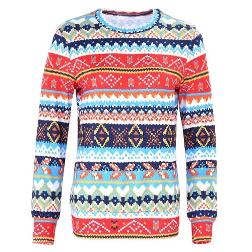 Invierno mujer suéter reno nieve impresión O-cuello de manga larga elegante cálido Jersey Tops de Navidad blusa