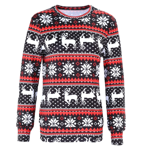 Winter Frauen Pullover Rentier Schnee Drucken Oansatz Langarm Elegante Warme Pullover Weihnachten Tops Bluse