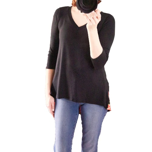 Women T-shirt Splicing Floral Print Dipped High Low Asymmetric Hem V Neck Três quartos de manga Causal Tops