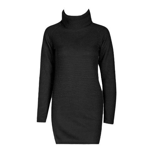 Women Autumn Winter Sweater Turtleneck Split Knitted Sweater Dress Jumper Tops Solid Outerwear