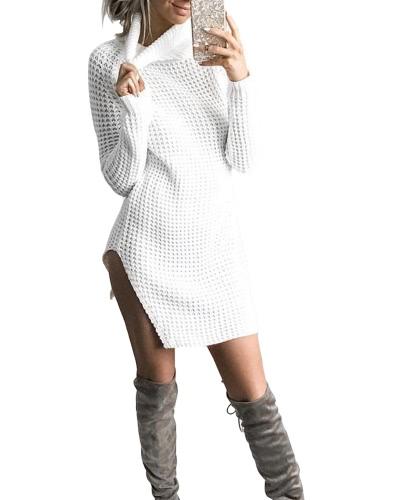 Mujeres Otoño Invierno Suéter Turtleneck Split Hecho punto Sweater Vestido Jumper Tops Solid Outerwear