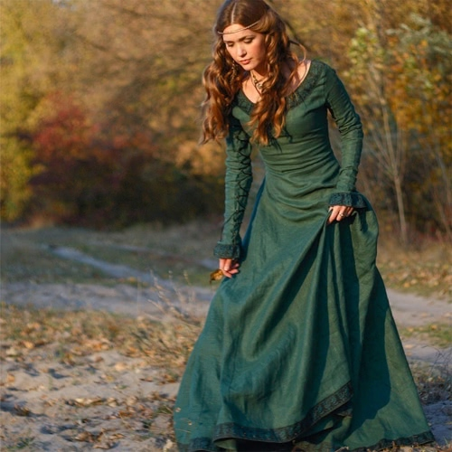 Klassische Herbst Vintage Style Frauen Mode Mittelalter Leinen Langarm Rundhals Kleid Cosplay Kostüm Prinzessin Renaissance Gothic Kleid