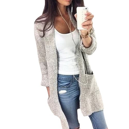 Moda Otoño Invierno Mujer Suelto Kitted Cardigan Suéter Bolsillos Delanteros Manga Larga De Tejido Prenda Outerwear Grey