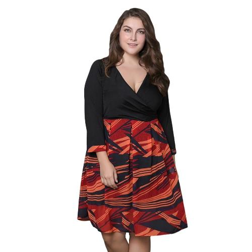 Sexy Frauen Plus Size Kleid Big Size Plunge V Neck Print Elegantes Knie-Länge Kleid Schwarz
