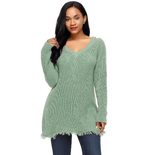 Mujeres mangas largas suéteres de punto Sweater Deep V cuello Hollow Out Franja de hombro caído Long Loose Knit Top