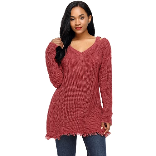 Mujeres mangas largas suéteres de punto Sweater Deep V cuello Hollow Out Franja de hombro caído Long Loose Knit Top