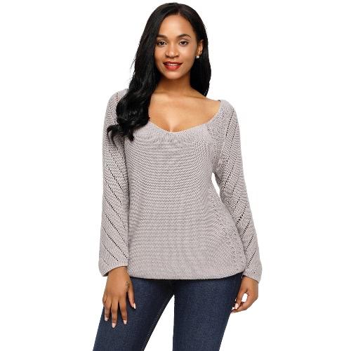 La manga larga del recorte de las nuevas mujeres de la manera hizo punto la sudadera de punto larga floja del suéter del cuello V del suéter