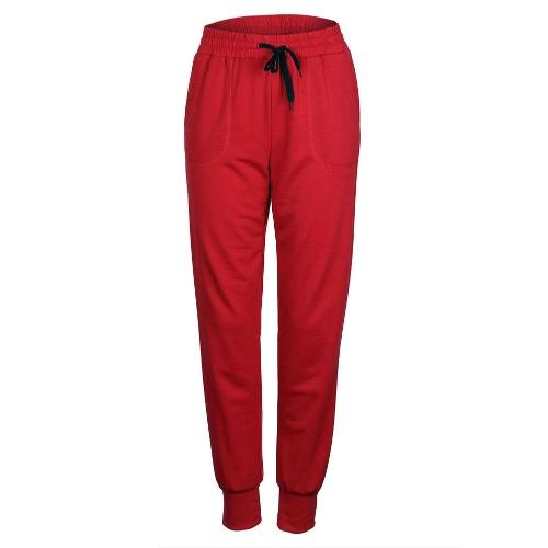 Pantalones de yoga para mujer Pantalones elásticos de cordón de cintura Corredores al aire libre Pantalones deportivos de manga larga deportivos