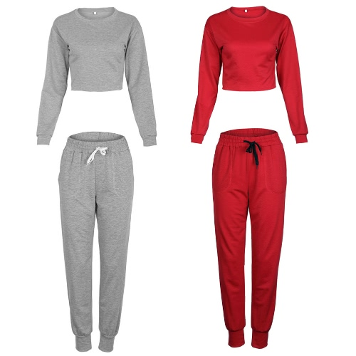 TOMTOP / Women Sport Yoga Crop Top Blusa O-Neck mangas compridas Casual Sportswear Pullover Top T-Shirt