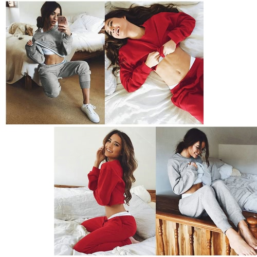Women Sport Yoga Crop Top Blouse O-Neck Long Sleeves Casual Sportswear Pullover Top T-Shirt