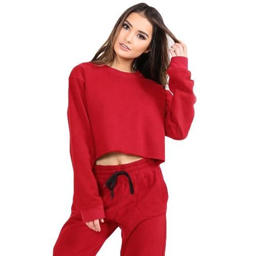 Mujeres Deportivo Yoga Top de la costura Blusa O-cuello de manga larga Casual Sportswear Pullover Top T-Shirt