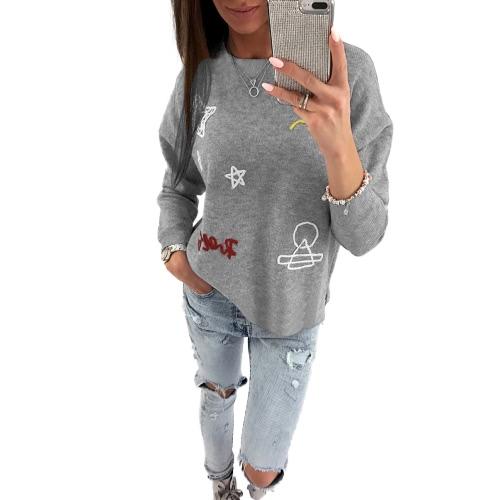Mujeres sudadera con capucha bordada Sweatershirt Sudaderas mangas largas dejó caer el hombro sueltos Casual Tops Jumper Outwear