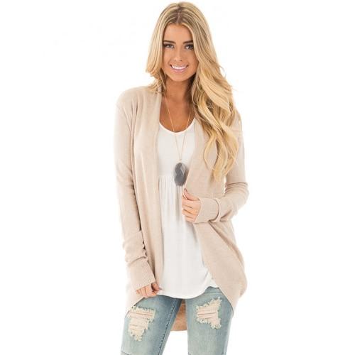 Neue beiläufige Winter-Frauen-lange Hülse gestrickte Wolljacke-geöffnete vordere asymetrische Saum-strickende Longline-Oberbekleidung-Mantel