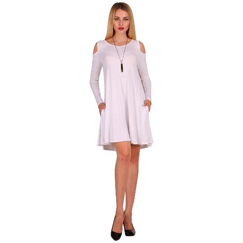 Mujeres de manga larga Casual suelta Swing T-Shirt vestido de hombro Tunic bolsillos Mini vestido