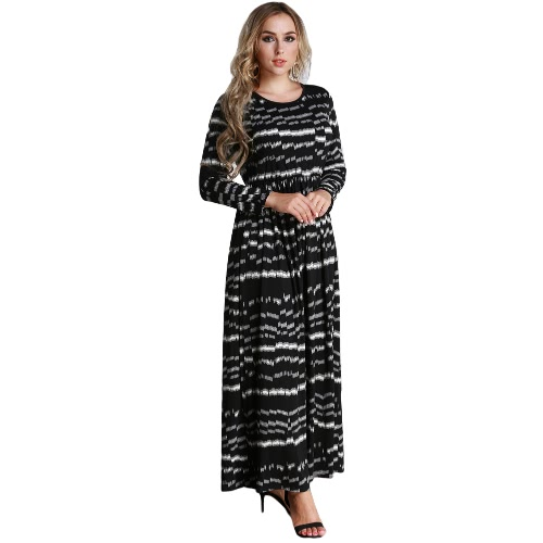 Sexy Women Plus Size Printed Dress Big Size Round Neck Ankle-Length Long Maxi Dress Black