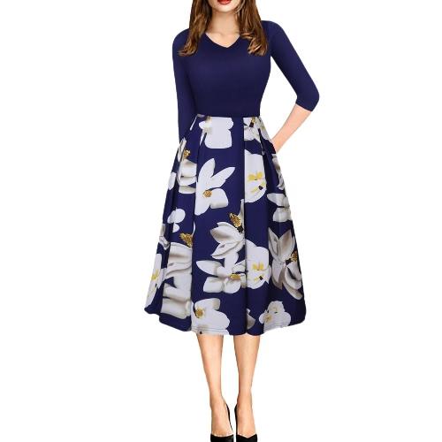 Mujeres Vintage vestido de impresión floral Contraste Puffy Swing vestido túnica Casual A-line vestido Beige / Azul / Rosa
