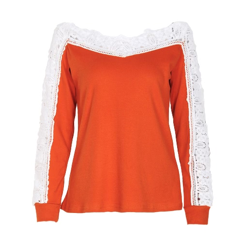 Sexy Women Crochet Lace Blusa Off Shoulder Long Sleeve Casual Oco Out Outono T-Shirt Tops