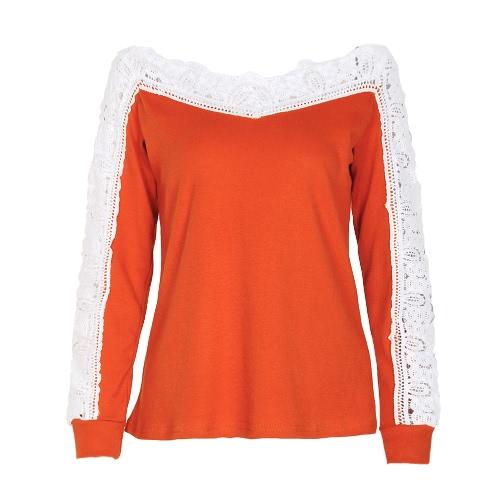 Sexy kobiet Crochet koronki bluzki od ramienia z długim rękawem Casual Hollow Out Autumn T-Shirt Topy