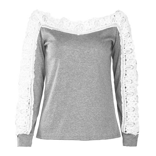 Las mujeres atractivas rematan la blusa del cordón de la manga larga del hombro ocasional ahuecan hacia fuera las tapas de la camiseta del otoño