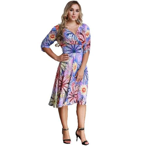 Women Plus Size Dress Colorful Floral Print V Neck Half Sleeve Midi Slim Elegant One-Piece Purple