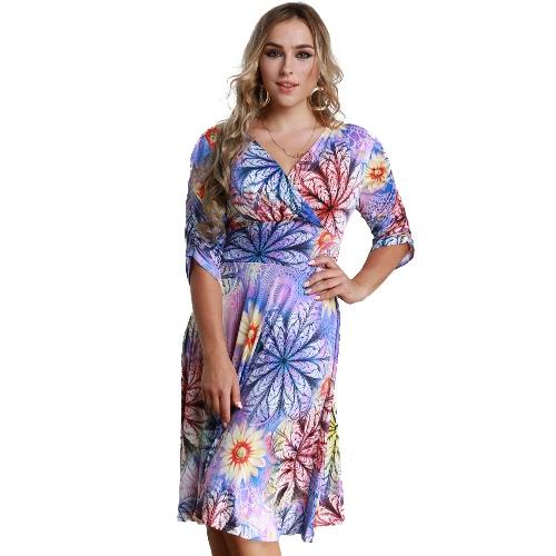 Frauen Plus Size Kleid Bunte Blumendruck V Neck Half Sleeve Midi Slim Elegant Einteiler Lila