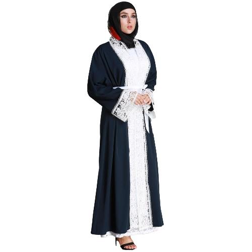 женщины плюс размер муслим кардиган сплавленный вязание крючком
