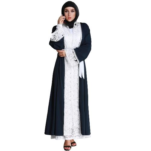 Women Plus Size Cardigan Muçulmano Emendado Crochet Lace Manga Longa Islâmica Abaya Maxi Vestido Outwear Azul Escuro
