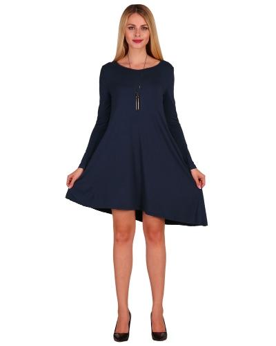 Nuevas mujeres de moda asimétrica mini vestido de bolsillos laterales de cuello redondo de manga larga partido vestido de swing suelto