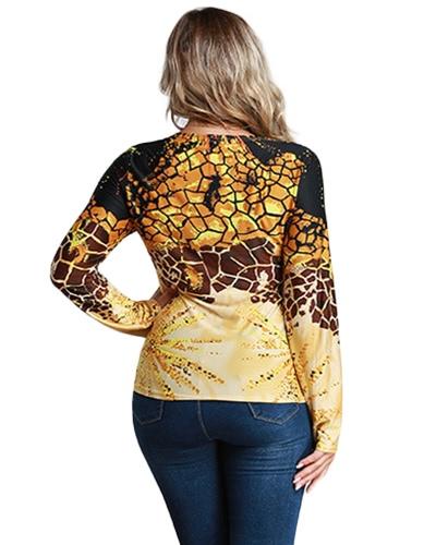 Мода Женщины Плюс Размер Leopard Печать V Шея с длинным рукавом Футболка Витая Фронт Неверные Топы Пуловер Желтый фото