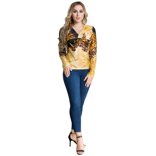 Moda Mulheres Plus Size Leopard Print V Neck T-shirt de manga comprida Twisted Front oversized Tops Pullover Amarelo