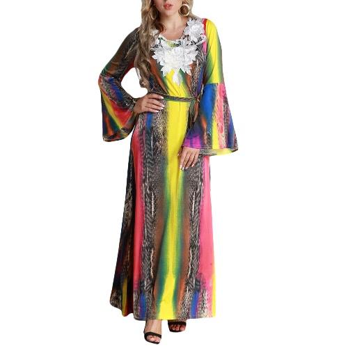 Mujeres más tamaño Maxi vestido largo Contraste Color Flare mangas largas cinturón de encaje colorido Elegante A-Line Dresses