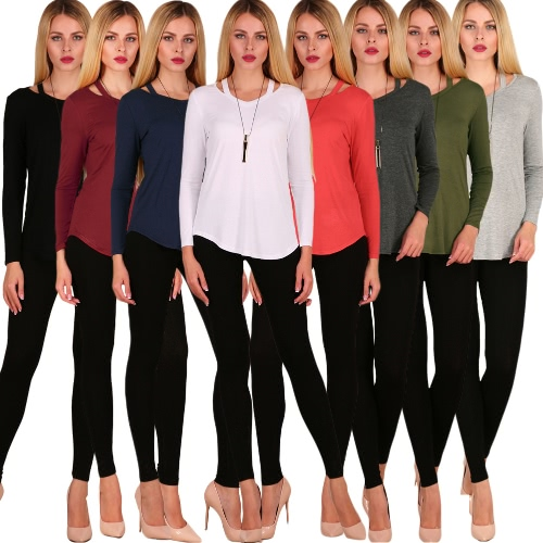 TOMTOP / Sexy Women Cotton T-Shirt Asymmetric Solid Long Sleeve Hollow Out Casual Autumn Brerief Basic Tee Top