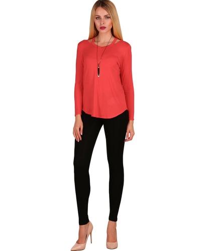 Sexy Frauen Baumwoll-asymmetrisches T-Shirt Solides Langarm-Hollow Out Casual Herbst-Slip Basic T-Shirt