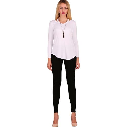 Mujeres atractivas algodón camiseta asimétrica Solid manga larga ahuecar otoño informal Breve Basic Tee Top