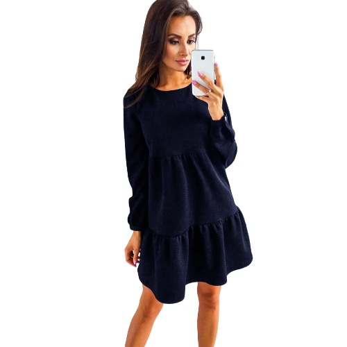 Mulheres Long Sleeve Casual Loose Tiered Dress Solid Color Tunic Mini Dress Pink / Green / Dark Blue