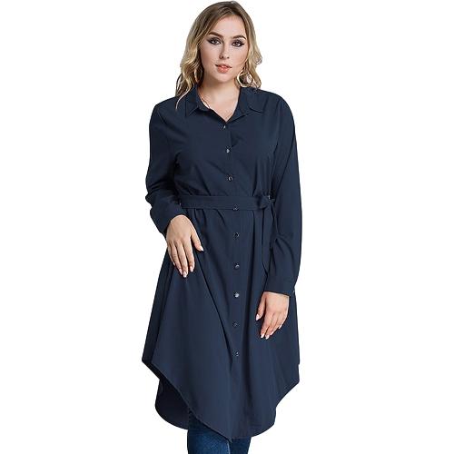 Mujeres Camiseta de talla grande Vestido de manga larga irregular Hem Ceñido Sólido Túnica Casual Blusa larga Top